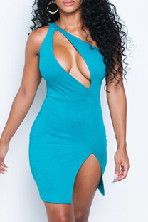 Light Blue Sexy Solid Hollowed Out Halter Pencil Skirt Dresses