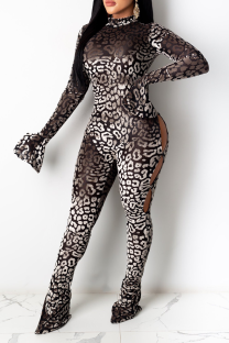 Coffee Sexy Leopard Hollowed Out Half A Turtleneck Skinny Jumpsuits
