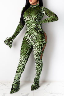 Green Sexy Leopard Hollowed Out Half A Turtleneck Skinny Jumpsuits