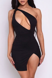 Black Sexy Solid Hollowed Out Halter Pencil Skirt Dresses