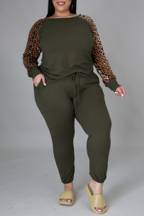 Olive Green Casual Leopard Split Joint O Neck Plus Size Two Pieces