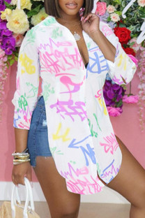White Fashion Casual Print Slit Turndown Collar Tops
