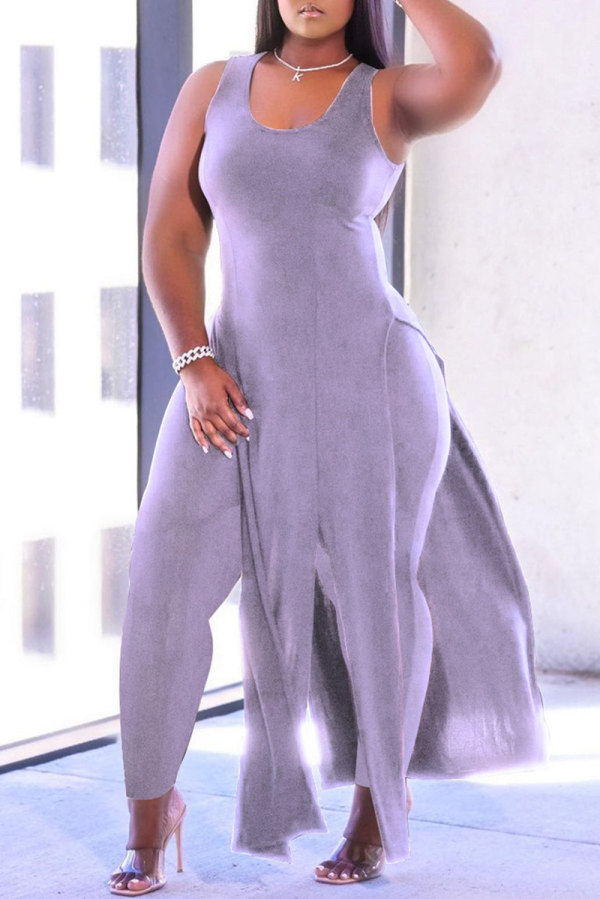 Purple Fashion Casual Solid Tassel Vests U Neck Plus Size Two Pieces
