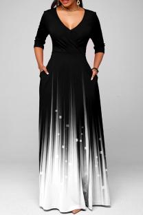 Black Casual Print Split Joint V Neck Cake Skirt Dresses