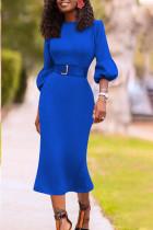 Royal blue Casual lantern sleeve Long Sleeves O neck Slim Dress Knee-Length Others Dresses (Without Belt)
