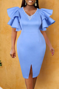 Sky Blue Elegant Solid Split Joint Flounce Beading Fold V Neck Evening Dress Dresses