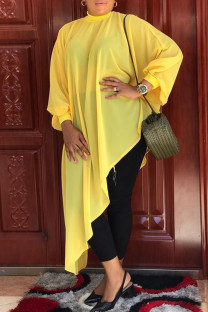 Yellow Sexy Casual Solid See-through Asymmetrical Half A Turtleneck Tops  (Without Belt)