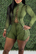 Green Sexy Solid Hollowed Out Split Joint Frenulum Half A Turtleneck Skinny Jumpsuits