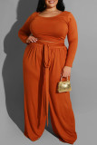 Brown Casual Solid With Belt O Neck Plus Size Two Pieces
