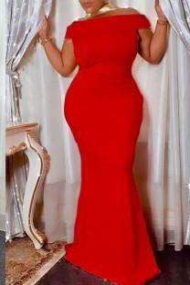 Red Elegant Solid Split Joint Off the Shoulder Trumpet Mermaid Dresses