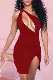 Red Sexy Solid Hollowed Out Halter Pencil Skirt Dresses