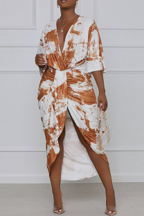 Red Elegant Print Tie Dye Split Joint Fold Asymmetrical V Neck Straight Dresses