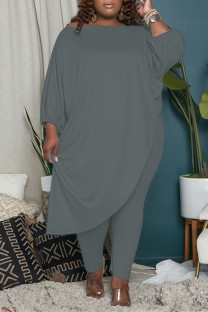 Grey Fashion Casual Solid Asymmetrical Oblique Collar Plus Size Two Pieces