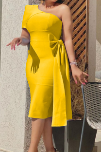 Yellow Sexy Solid Split Joint One Shoulder Pencil Skirt Dresses