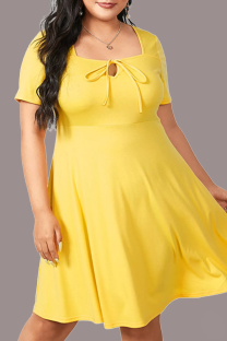 Yellow Casual Solid Split Joint Square Collar Cake Skirt Plus Size Dresses
