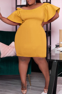 Yellow Sexy Solid Split Joint Off the Shoulder Straight Dresses