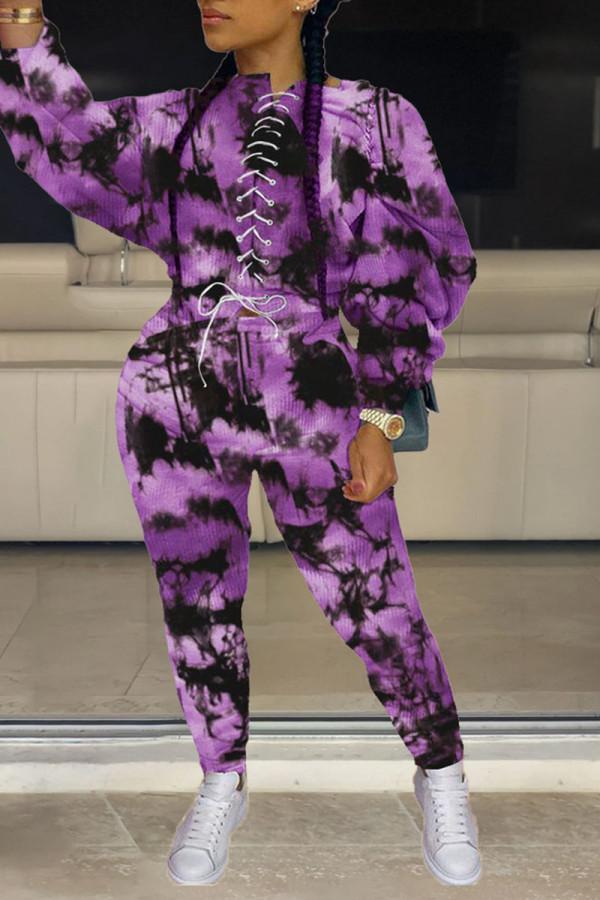 Purple Casual Street Print Tie Dye Split Joint Frenulum O Neck Long Sleeve Two Pieces