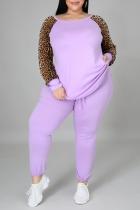 Purple Casual Leopard Split Joint O Neck Plus Size Two Pieces