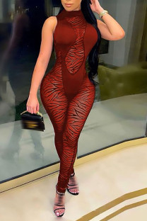 Red Sexy Solid Split Joint See-through O Neck Skinny Jumpsuits