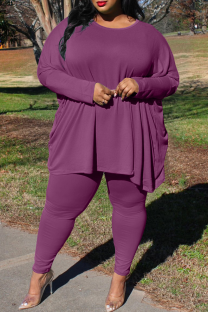 Purple Casual Solid Split Joint O Neck Plus Size Two Pieces