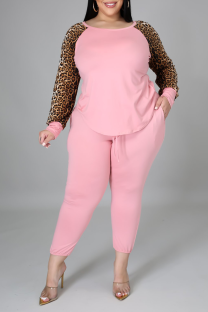 Pink Casual Leopard Split Joint O Neck Plus Size Two Pieces