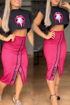 Rose Red Casual Letter Print Split Joint Slit O Neck Two Pieces