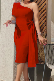 Red Sexy Solid Split Joint One Shoulder Pencil Skirt Dresses
