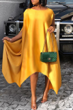 Yellow Casual Solid Split Joint O Neck Irregular Dress Dresses