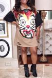 Camel Casual Print Split Joint O Neck T-shirt Dress Dresses