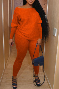 Tangerine Casual Solid Split Joint O Neck Long Sleeve Two Pieces