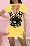 Yellow Sexy Print Ripped O Neck Pencil Skirt Dresses