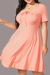 Pink Casual Solid Split Joint Square Collar Cake Skirt Plus Size Dresses