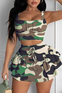 Army Green Casual Print Split Joint Flounce Spaghetti Strap Sleeveless Two Pieces
