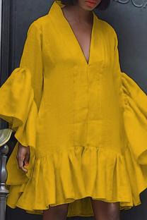 Yellow Casual Solid Split Joint V Neck Cake Skirt Dresses