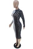 Black Sexy Print Split Joint Half A Turtleneck Pencil Skirt Dresses