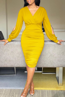 Yellow Sexy Solid Hollowed Out V Neck Pencil Skirt Dresses