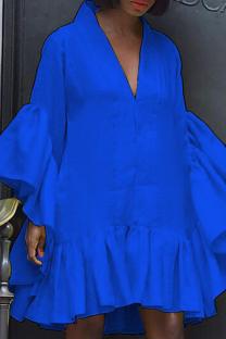 Blue Casual Solid Split Joint V Neck Cake Skirt Dresses