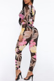 Grey Sexy Print Split Joint Fold V Neck Long Sleeve Two Pieces