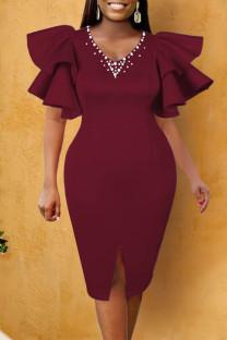 Burgundy Elegant Solid Split Joint Flounce Beading Fold V Neck Evening Dress Dresses