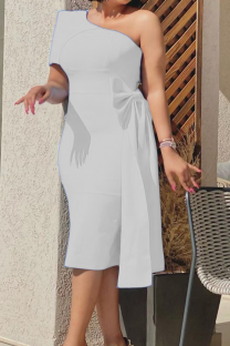 White Sexy Solid Split Joint One Shoulder Pencil Skirt Dresses
