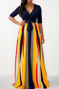 Yellow Casual Print Split Joint V Neck Cake Skirt Dresses