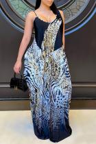 Multicolor Sexy Leopard Split Joint Spaghetti Strap Straight Dresses