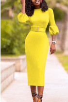 Yellow Casual lantern sleeve Long Sleeves O neck Slim Dress Knee-Length Others Dresses (Without Belt)