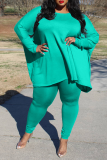 Cyan Casual Solid Split Joint O Neck Plus Size Two Pieces