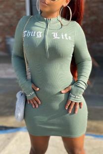 Light Green Fashion Casual Letter Print Basic Zipper Collar Long Sleeve Dresses