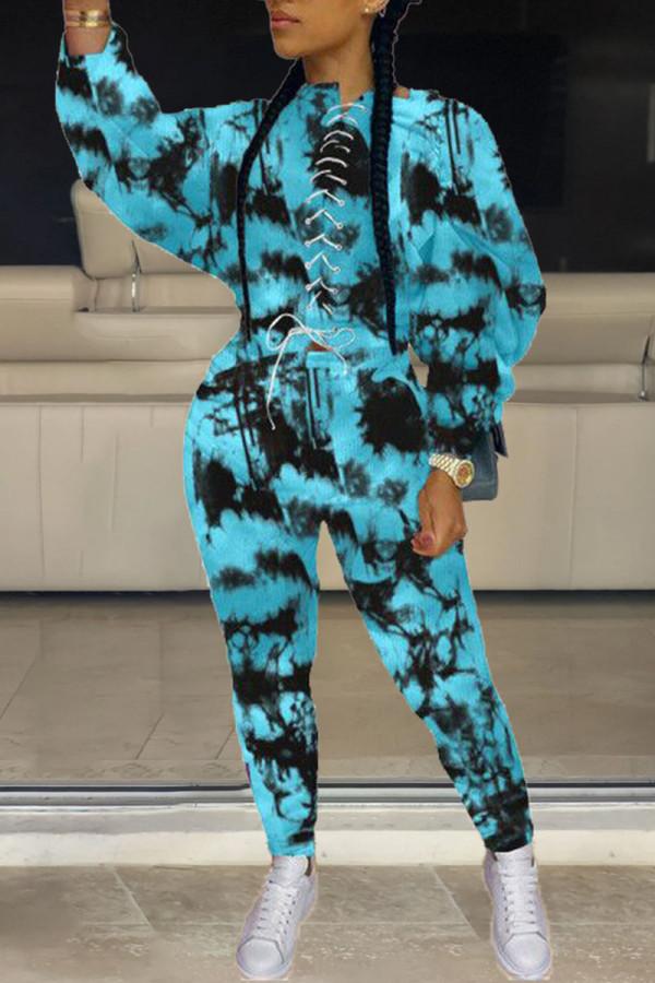 Blue Casual Street Print Tie Dye Split Joint Frenulum O Neck Long Sleeve Two Pieces