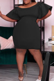 Black Sexy Solid Split Joint Off the Shoulder Straight Dresses