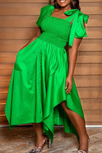Green Casual Solid Split Joint Square Collar Irregular Dress Dresses