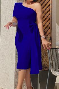 Deep Blue Sexy Solid Split Joint One Shoulder Pencil Skirt Dresses