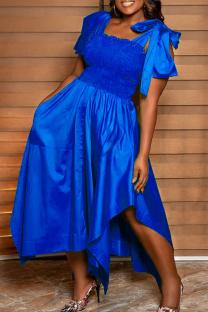 Blue Casual Solid Split Joint Square Collar Irregular Dress Dresses